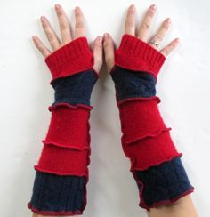 Recycled Sweater Fingerless Gloves Arm Warmers Red Navy Blue Gloves Armwarmers Upcycled Clothing by ThankfulRose on Etsy