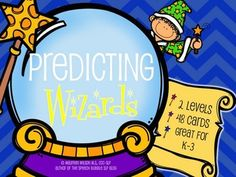 Predicting Wizards, the easy to use printable English Language Arts and Special Education speech resource!  Great for Kinder through 3rd grades, this activity has two levels for multiple age groups. #SLP #ELA #Prediction #LanguageProcessing #SpEd #TpT #SpeechBubble #Minilesson #activities