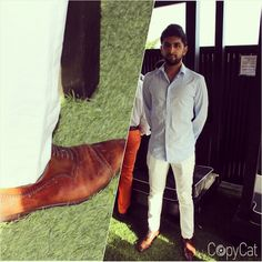 """If you can't judge a book by it's cover, you can definitely judge a man by his shoes.  White! White! White! Fresh, bright colors makes you look clean and cool. You could never go wrong with the white color.  Shirt: """"Blue Melange Long Sleeve  Smart Shirt"""" $60.48 Topman  Shoes:  1) a simiar style can be find at Bloomingdales: """"Gordon Rush Manning Leather Plain Toe Oxfords"""" $225.00 2) or for a more cheaper price at Aldo: """"Manzella"""" $128  #nyccopycat #copycat #fashion"""