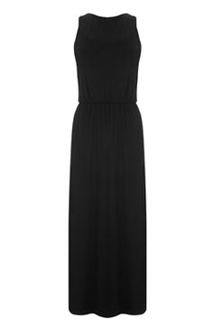 This sleeveless jersey dress features a round neckline, nipped in waist, split side seams and midi length cut. Length of midi dress, from shoulder seam to hem, 130cm approx. Height of model shown: 5ft 10 inches/178cm. Model wears: UK size 10.Fabric:Main: 97.0% Viscose