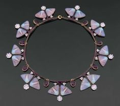 Lalique Necklace Butterflies 9 matching butterflies motif in purple enamel, amethyst and gold.