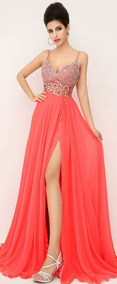 In Stock Charming Chiffon Spaghetti Straps Neckline A-line Formal Dresses With Beadings