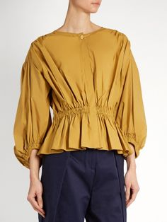 Sonia Rykiel Puff-sleeved cropped cotton-poplin blouse