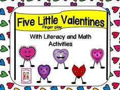 This vibrant Valentine finger play includes, literacy, writing and math activities. Literacy: *5 Little Valentines (emergent reader) -shared book -home kiddo copy (sight word - little) *What is the vowel? (short vowels) *What is the vowel? (long vowels)  *Hearty Har Har (ar controlled printable) *Hearty Har Har (ar controlled - cut and glue) *Hearts (1, 2, 3, 4 letter sight words) *1 Heart, 2 Hearts (plurals) Writing: *Write Valentine sentences *A heart is red and so is... *Heart grams…