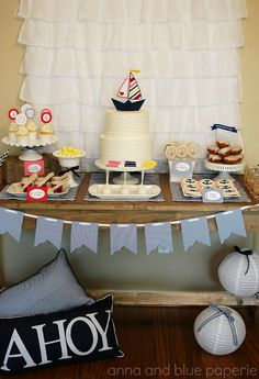 anna and blue paperie lets set sailgirls nautical  dessert table