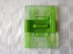 Fused Glass Art Soap Dish Lime Green and Clear Whispy Lime. $15.00, via Etsy.