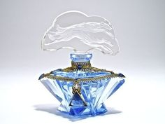 1920s Czechoslovakia Jeweld Perfume Bottle Blue & Clear Double Intaglio Stopper