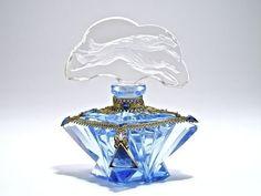 1920s Czechoslovakia Jeweld Perfume Bottle Blue & Clear Double Intaglio Stopper