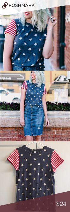 """Stars and Stripes Tee American style tee! Perfect for the fourth or any celebration.  Sizing/Info:  •Chest: 36"""" •Length: 24"""" •Material: 50% Polyester, 38% Cotton, 12% Rayon •Fit: True to size •Condition: Like new (No filters used on my photos, but color may vary slightly)   ❌ No trades/No Paypal/No Holds❌ ✅ Bundle Of 3+ Gets 20% Off ✅ ✅ Ships FAST ✅ Alternative Apparel Tops Tees - Short Sleeve"""