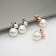 White Freshwater Button Pearl Earrings With 925 Sterling Silver Stud 18k Rose Gold Plated