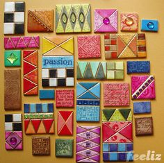 Colorful polymer tiles by German artist Jana Lehmann. Image from her Flickr page. Her other work is fab, jewerly, pins, pens and more, all very fun and colorful! Check our her blog at www.feeliz.wordpress.com