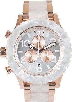 #Gold and pearl. NIXON THE 42-20 CHRONO WATCH http://www.swell.com/Womens-Watches/NIXON-THE-42-20-CHRONO-WATCH-20?cs=MU#