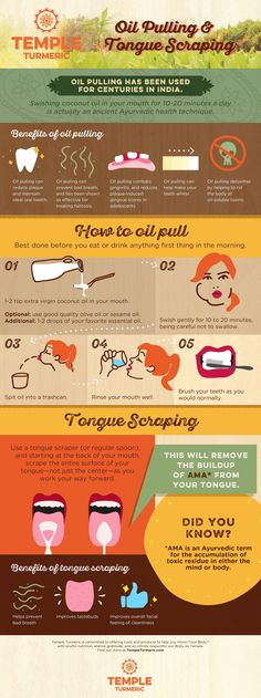 Oil Pulling & Tongue Scraping: What You Need to Know - It's important not to swallow the oil since it pulls out toxins.