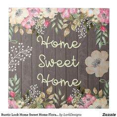 Rustic Look Home Sweet Home Floral Wood Ceramic Tile