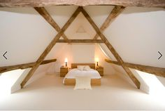 Barn conversion - Gloucestershire    Love this for the inside of the Lodge rooms - plaster walls with rough wooden supporting beams.   http://www.houzz.com/photos/26894841/Barn-Conversion-Gloucestershire-contemporary-bedroom-gloucestershire