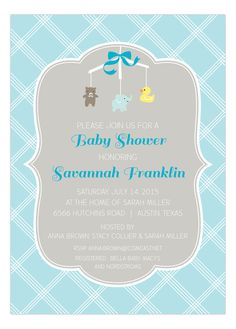 Adorable Blue Mobile Baby Shower Invitation