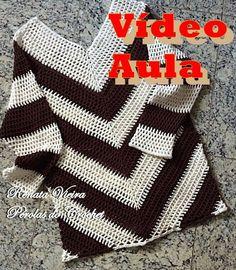 Blusa listrada parte 3 Opcional - Eliminando o bico - Barra reta , Crochet Shirt, Crochet Jacket, Crochet Cardigan, Mode Crochet, Crochet Baby, Knit Crochet, Knitting Patterns, Crochet Patterns, Vest Pattern