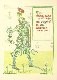 """The snapdragon opened his jaw, but, at sithe of scotch thistle, turned pale"" Image taken from page 58 of 'A Floral Fantasy in an Old English Garden. Set forth in verses & coloured designs' Walter Crane, Victorian Books, Thistle Flower, Witch Art, Plant Pictures, Japanese Prints, Arts And Crafts Movement, Old English, Illustrators"