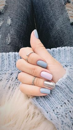 Silver light pink and grey matte nails