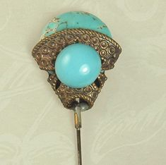 Czech Glass and Faux Turquoise Hat Pin
