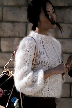 1 Outfit for 4 Occasions Moss panel, eyelets, fans. An experienced knitter could decipher this lovely sweater quite easily. 1 Outfit for 4 Occasions Moss panel, eyelets, fans. An experienced knitter could decipher this lovely sweater quite easily. Knit Fashion, Look Fashion, Winter Fashion, Knitwear Fashion, Beach Fashion, Woman Fashion, Street Fashion, Sweater Weather, Mohair Sweater