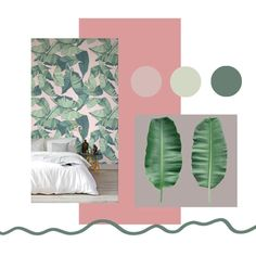 Check out the Pink and Green Tropical Leaf Wallpaper, a fresh and modern tropical leaf wallpaper design that will keep your interior on trend and stylish. Gold Bedroom, Bedroom Green, Green Rooms, Summer Bedroom, Dream Bedroom, Bedroom Themes, Bedroom Decor, Bedroom Ideas, Botanical Bedroom