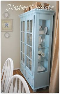 A hutch painted with chalk paint and waxed...no sanding or priming. Got to try this.