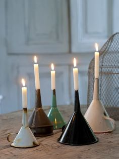 Decorating with Vintage Enamelware by Adirondack Girl @ Heart Diy Casa, Vintage Enamelware, Candlesticks, Diy Home Decor, Diy And Crafts, Candle Holders, Recycling, Sweet Home, Diy Projects