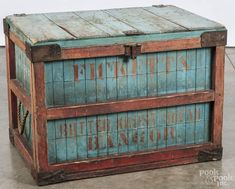 Painted shipping crate, 19th c., stenciled Fickett's Butter Krust Bread Bangor - Price Estimate: $150 - $250