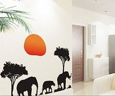 African Elephants Trees Sunset Removable Vinyl Wall Stickers Mural Home Art Decal Kids Room Decor >>> For more information, visit image link. (Note:Amazon affiliate link) #WallStickersandMurals