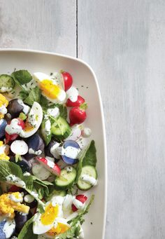 Egg and Veggie Salad with Dill Green Goddess Dressing
