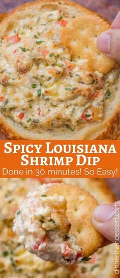 Spicy Louisiana Shrimp Dip is a spicy, creamy dip with cajun spices that you can make in 30 minutes. It'll be the hit of your party! Spicy Louisiana Shrimp Dip - Dinner Then Dessert Seafood Dishes, Seafood Recipes, New Recipes, Cooking Recipes, Favorite Recipes, Seafood Dip, Healthy Dip Recipes, Healthy Dips, Bon Appetit