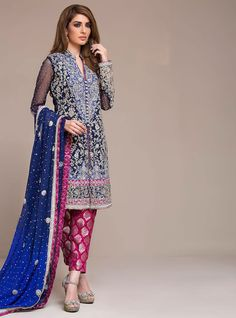 Royal blue and cherry pink dress Indian/pakistani by IrmaDesign