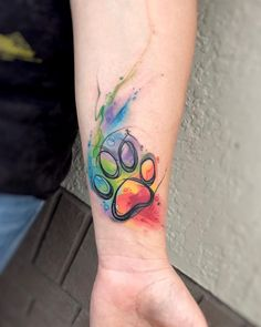 Image result for rainbow paw print tattoo