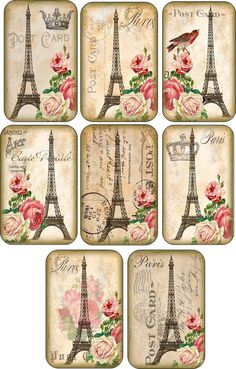 Vintage Eiffel Tower Roses Tags Scrapbooking Crafts Set of 8 with Ribbons | eBay