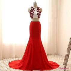 2 Piece Prom Gown,Two Piece Prom Dresses,Red Evening Gowns,2 Pieces Party Dresses,Chiffon Evening Gowns,Simple Formal Dress,Bling Formal Gowns For Teens PD20181554