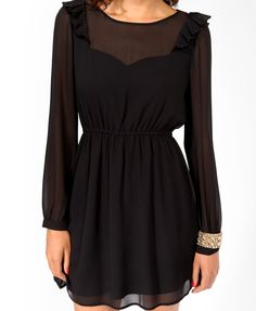 Pleated Flounce Trim Dress | FOREVER21 - pleated marrow finished trim, button cuffs