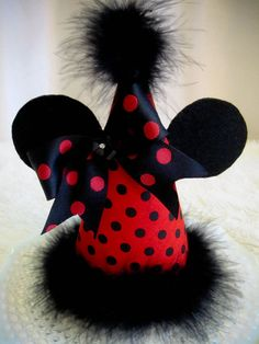 Red & Black Polka Dot Minnie Mouse Birthday Hat with by cd1ofakind