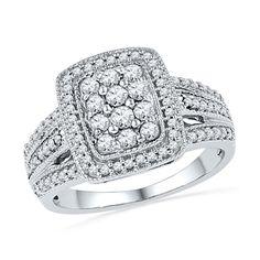 1/2 CT. T.W. Diamond Rectangular Cluster Frame Ring in 10K White Gold