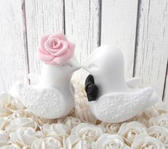 Wedding Cake Topper, Love Birds, Dusty Pink, Black and White, Bride and Groom Keepsake