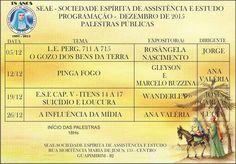 SEAE Convida para as suas Palestras Públicas no mês de Dezembro/2015 - Guapimirim – RJ - http://www.agendaespiritabrasil.com.br/2015/12/19/18019/