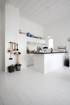 all-white kitchen.