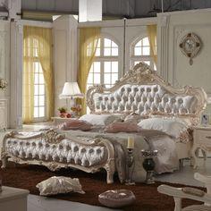 5 pc Queen Elizabeth renaissance style antique white king bedroom ...