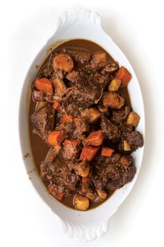 Daube de Boeuf À la Gasconne (Gascon-Style Beef Stew) - This rich beef and root vegetable stew is made with armagnac, chocolate and, traditionally, madiran wine.  Use pinot noir instead for a lighter, more nuanced version.