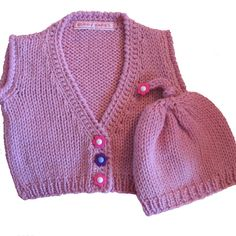 Knit Baby Sweater and Hat in Soft Pink Merino Wool