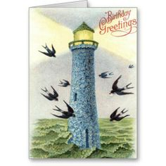 Forget Me Not Songbird Lighthouse Cards