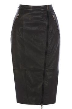 Oasis zip leather skirt €120 - This real leather pencil skirt has an on trend asymmetric zip feature on the front as well as double metallic zip pockets on the waist.
