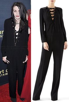 7e8d75a1d3fd rances Bean Cobain wears a Gucci Matte Satin Jump Suit with Lace-Up Detail  in the color Black while attending the Los Angeles premiere for Montage of  Heck.