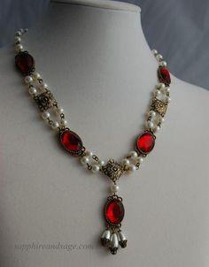 Cordelia Renaissance Necklace, Medieval Necklace, Victorian Necklace, Elizabethan Necklace, Tudors N Renaissance Jewelry, Medieval Jewelry, Pagan Jewelry, Red Jewelry, Victorian Jewelry, Gothic Jewelry, Jewelery, Unique Jewelry, Ladies Jewelry