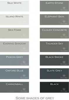 Paint Colors for bathroom & bedroom - I LOVE GRAY! Shades of Grey. Chalk Paint, Lime Paint, Floor Paint and more. Colors in Lime Paint, Chalk Paint and much more. Take a look at our website. Wall Paint Colors, Bedroom Paint Colors, Interior Paint Colors, Paint Colors For Home, Interior Design, Floor Colors, House Colors, Exterior Gris, Gray Chalk Paint